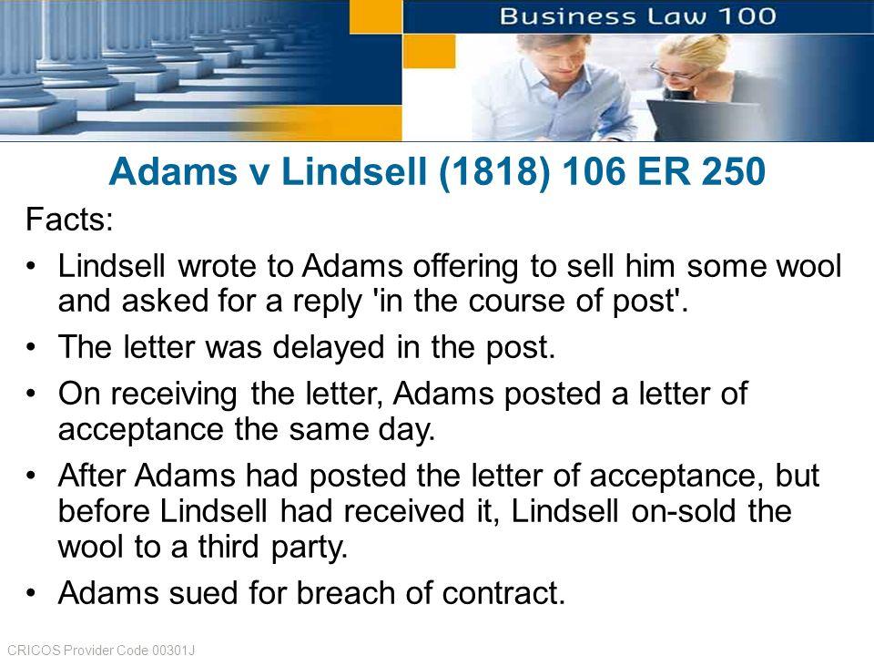 adams v lindsell 1818 summary