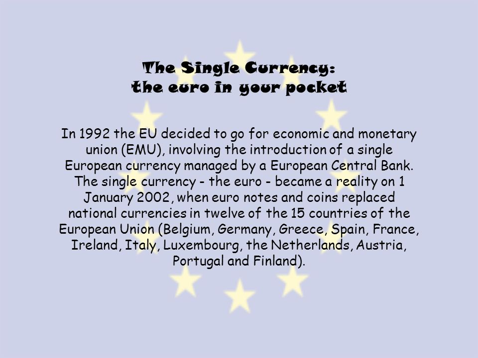 The Single Currency: the euro in your pocket