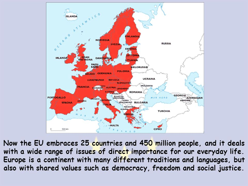Now the EU embraces 25 countries and 450 million people, and it deals with a wide range of issues of direct importance for our everyday life.
