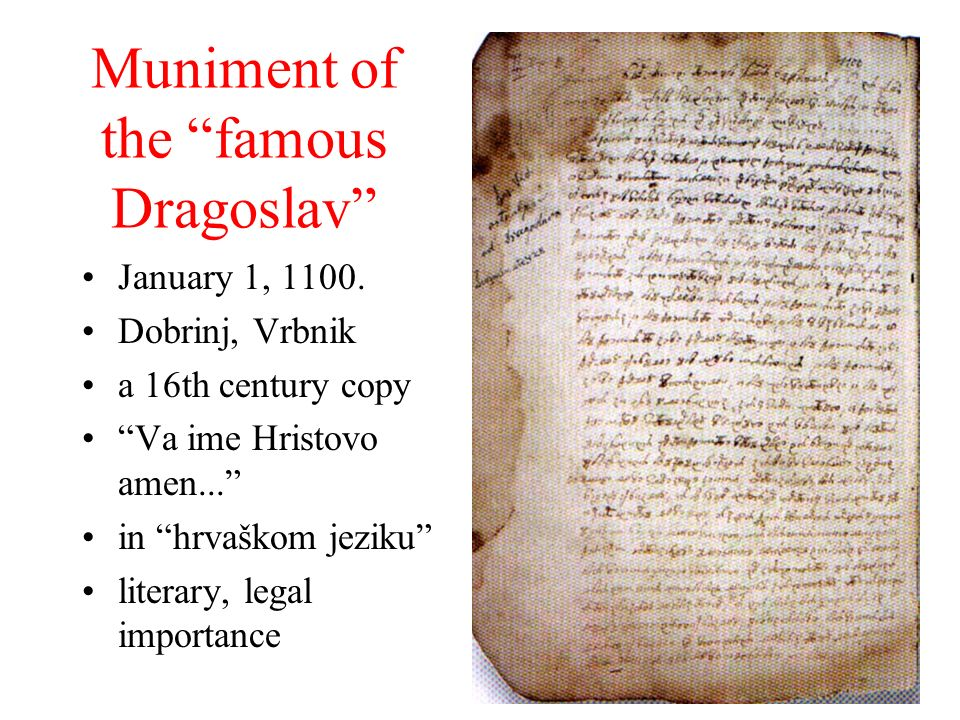 Muniment of the famous Dragoslav
