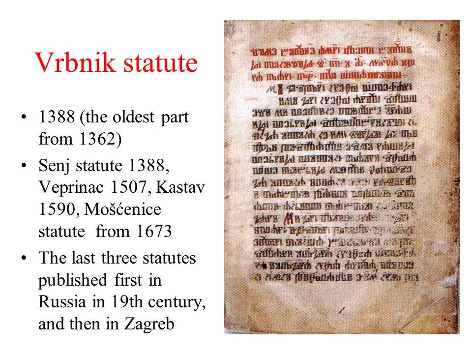 Vrbnik statute 1388 (the oldest part from 1362)