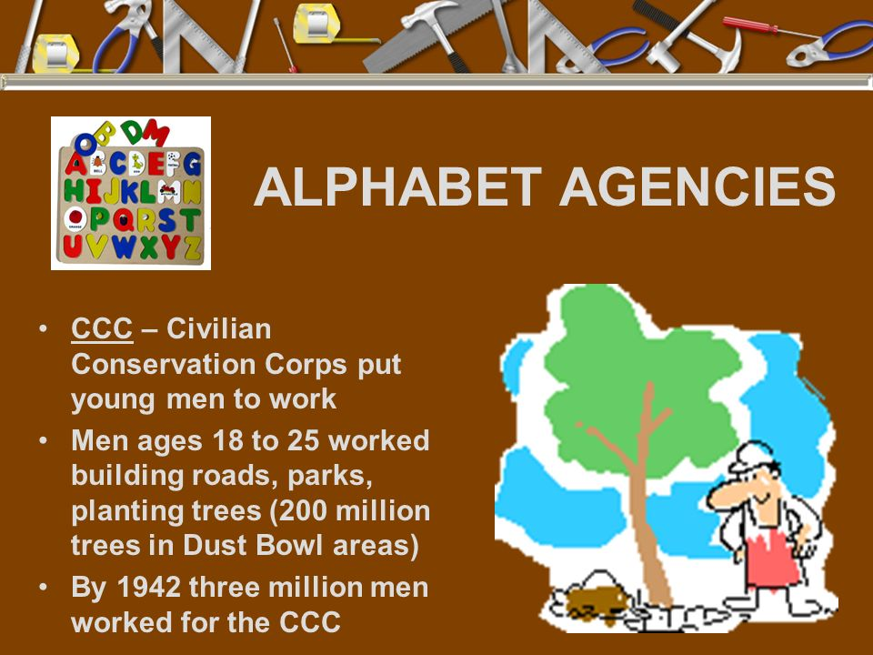 ALPHABET AGENCIES CCC – Civilian Conservation Corps put young men to work.