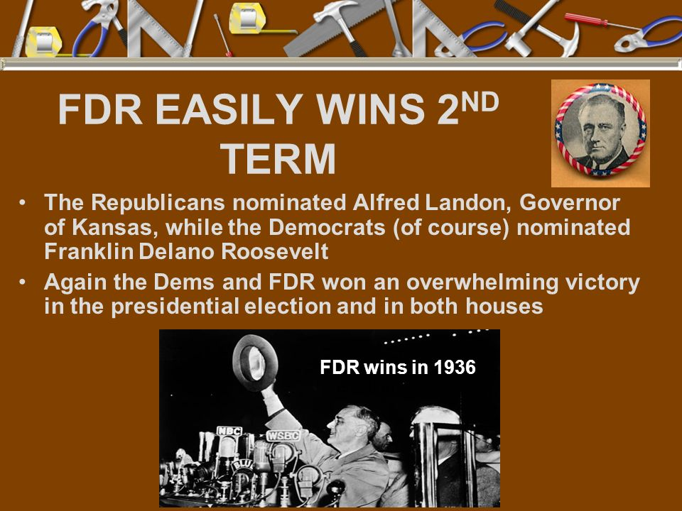 FDR EASILY WINS 2ND TERM