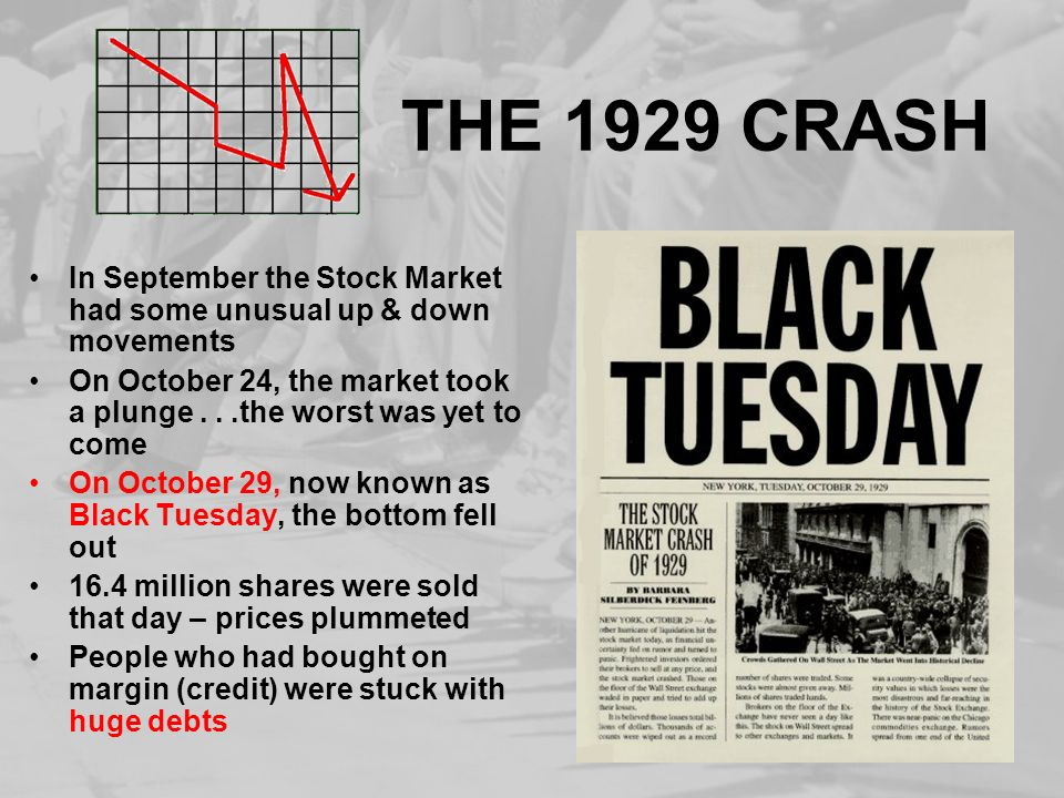 THE 1929 CRASH In September the Stock Market had some unusual up & down movements.