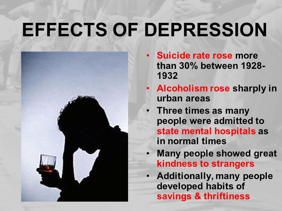 EFFECTS OF DEPRESSION Suicide rate rose more than 30% between 1928-1932. Alcoholism rose sharply in urban areas.