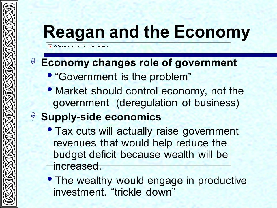 Reagan and the Economy Economy changes role of government