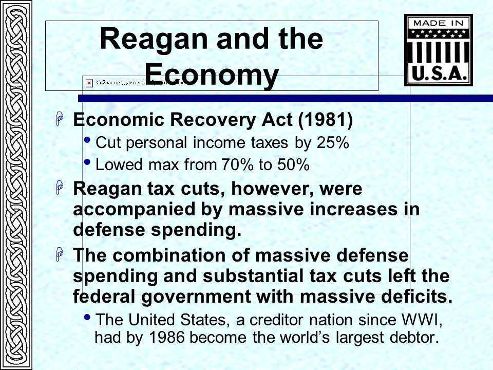 Reagan and the Economy Economic Recovery Act (1981)