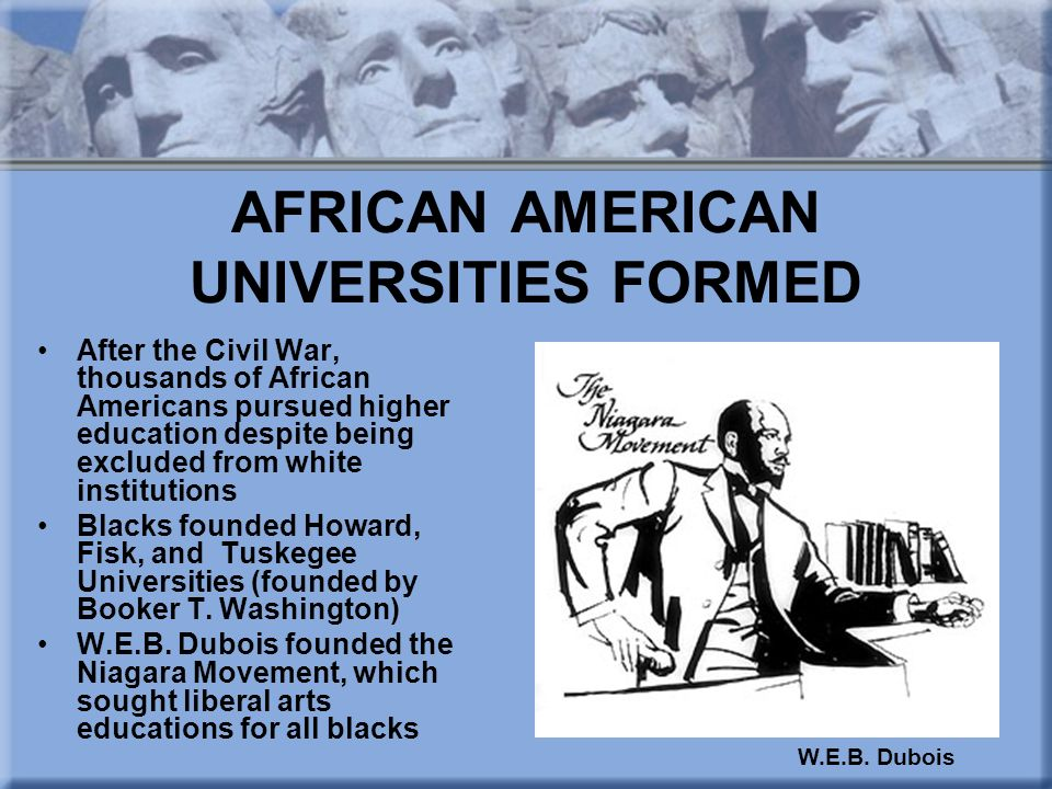 AFRICAN AMERICAN UNIVERSITIES FORMED