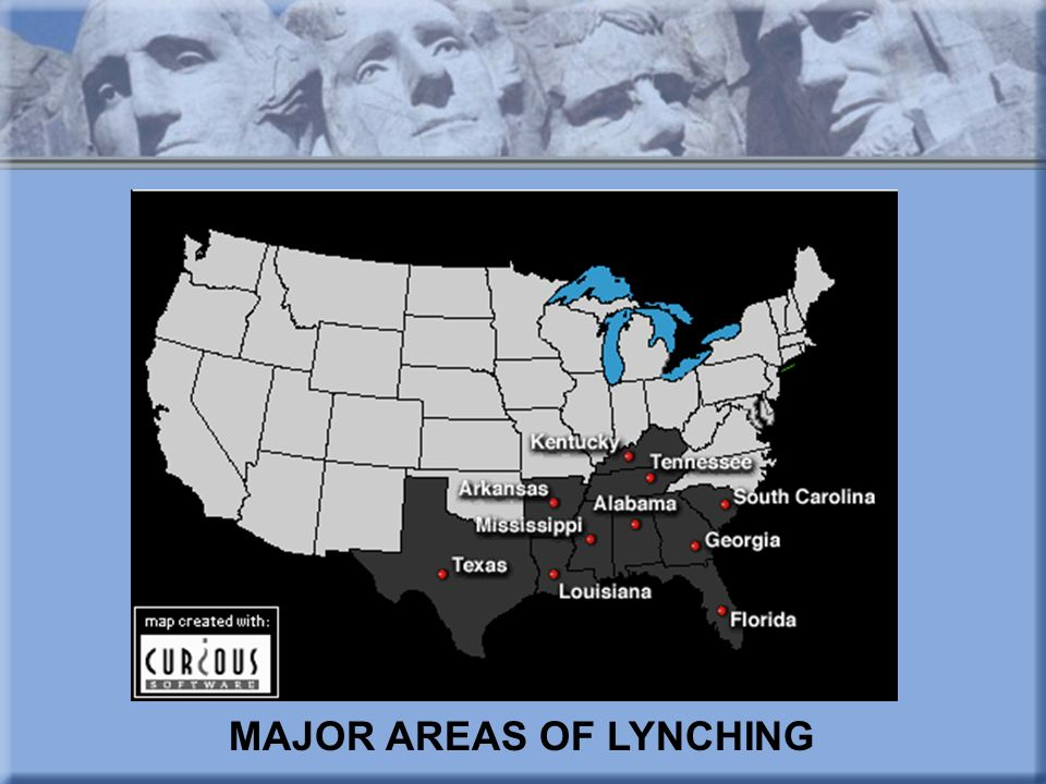 MAJOR AREAS OF LYNCHING