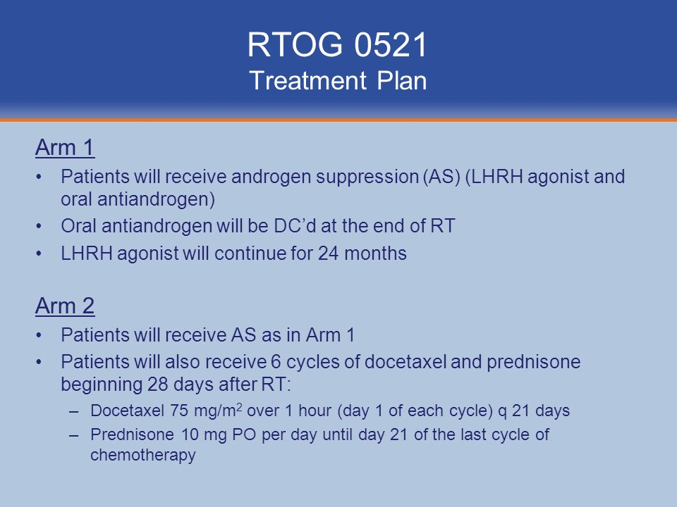 RTOG 0521 Treatment Plan Arm 1 Arm 2
