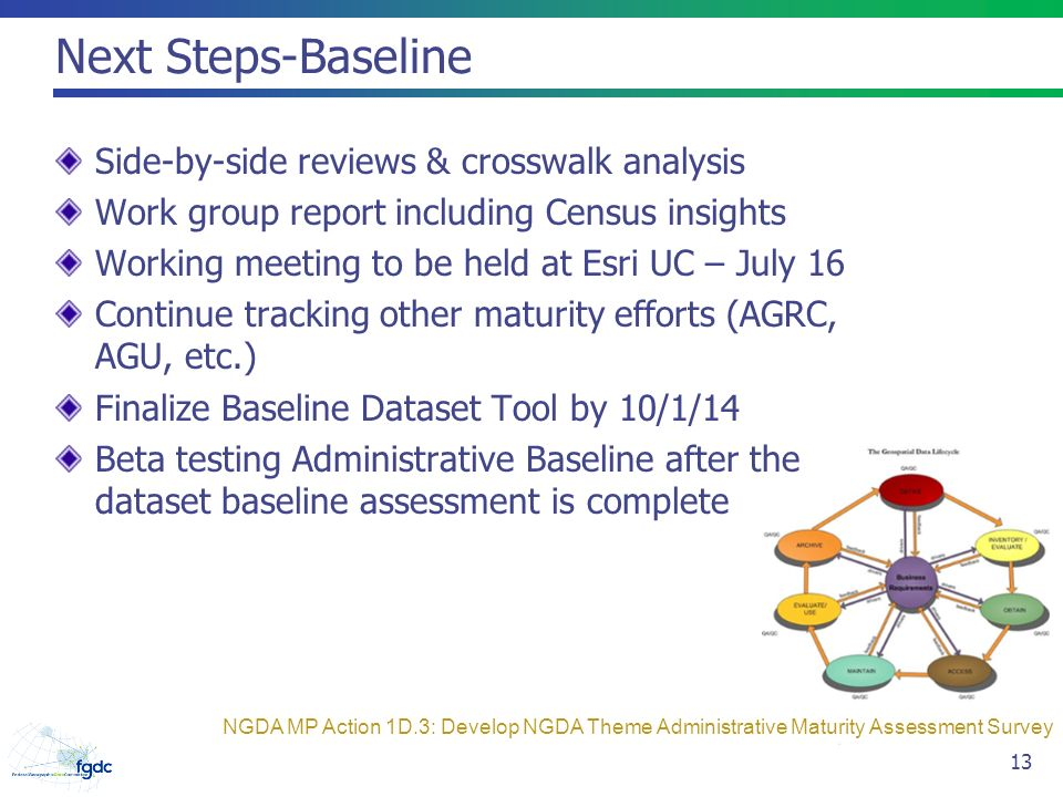 Next Steps-Baseline Side-by-side reviews & crosswalk analysis