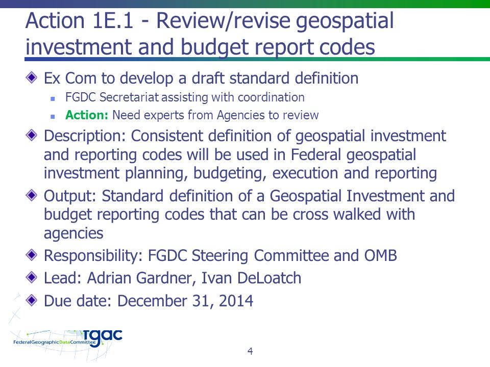 Action 1E.1 - Review/revise geospatial investment and budget report codes