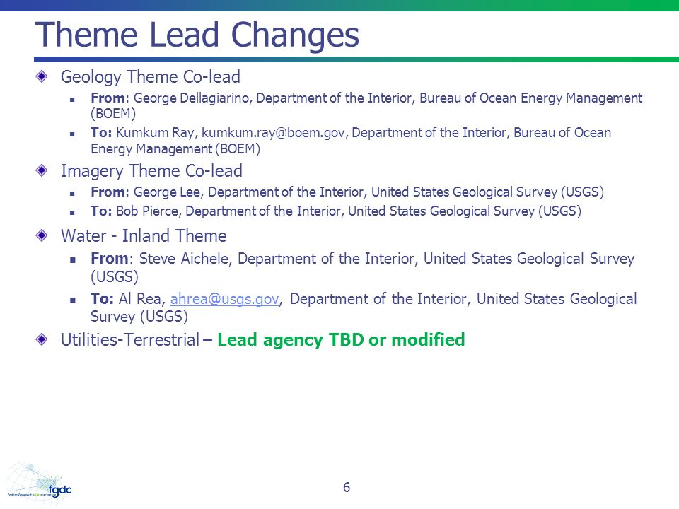 Theme Lead Changes Geology Theme Co-lead Imagery Theme Co-lead