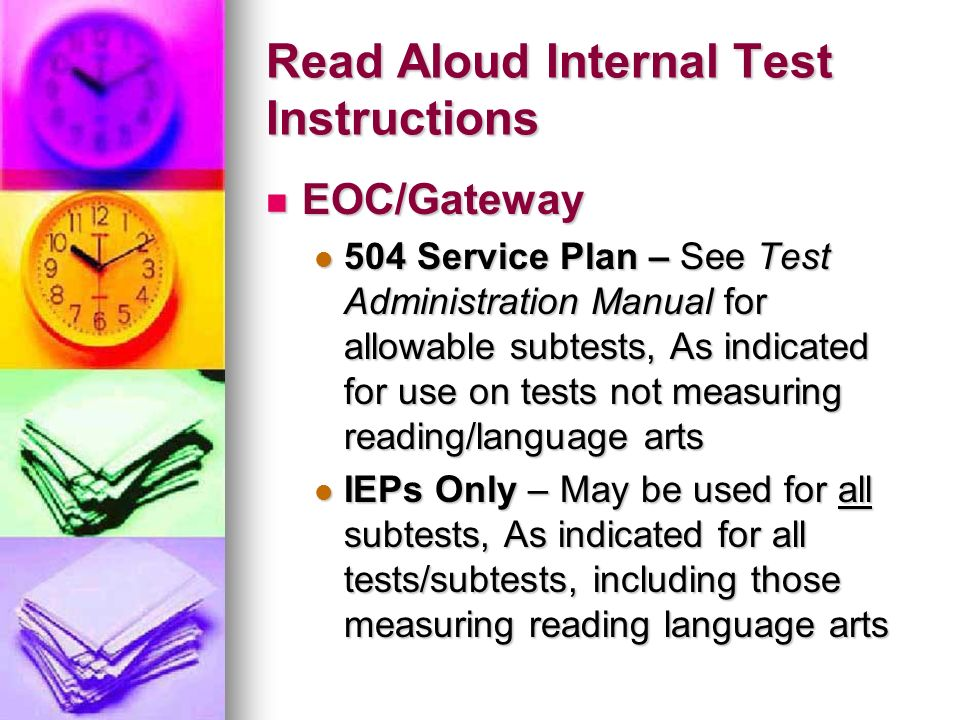 Read Aloud Internal Test Instructions