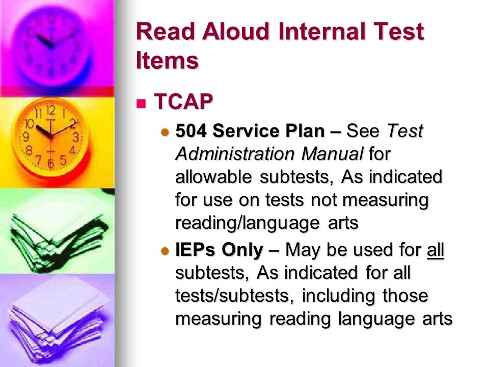 Read Aloud Internal Test Items