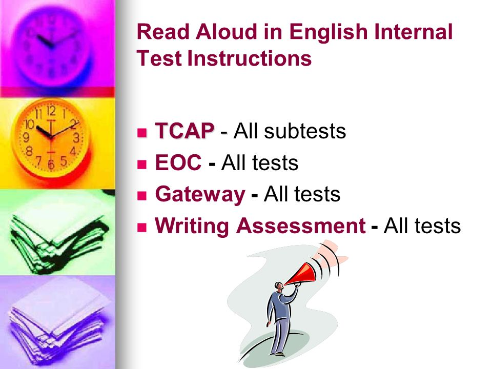 Read Aloud in English Internal Test Instructions