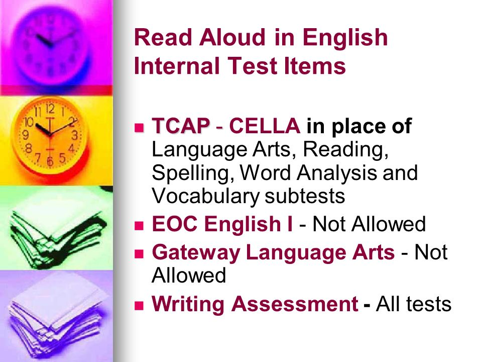 Read Aloud in English Internal Test Items