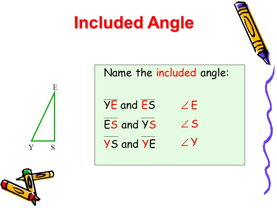 Included Angle Name the included angle: YE and ES ES and YS YS and YE