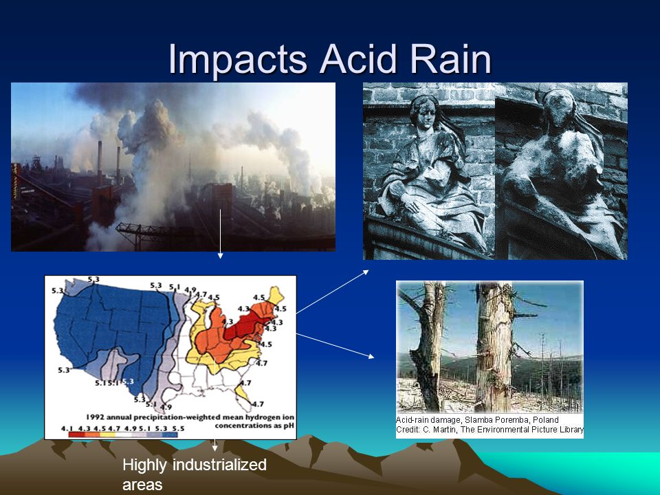 Impacts Acid Rain Highly industrialized areas