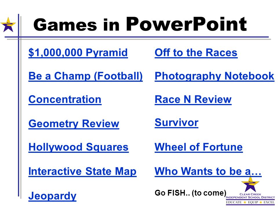 Games in PowerPoint $1,000,000 Pyramid Be a Champ (Football)