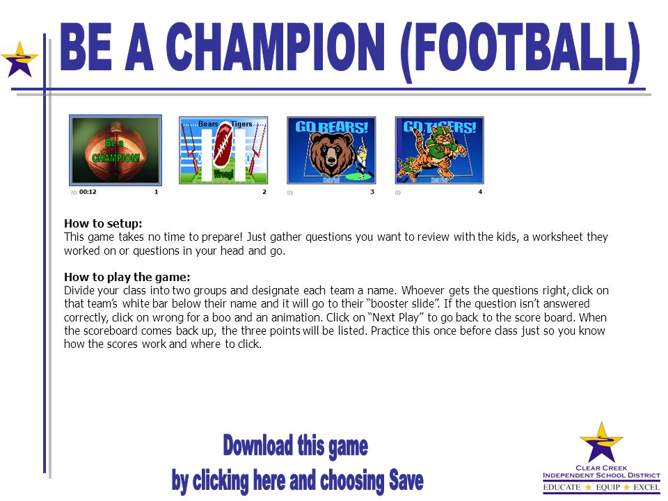 BE A CHAMPION (FOOTBALL)