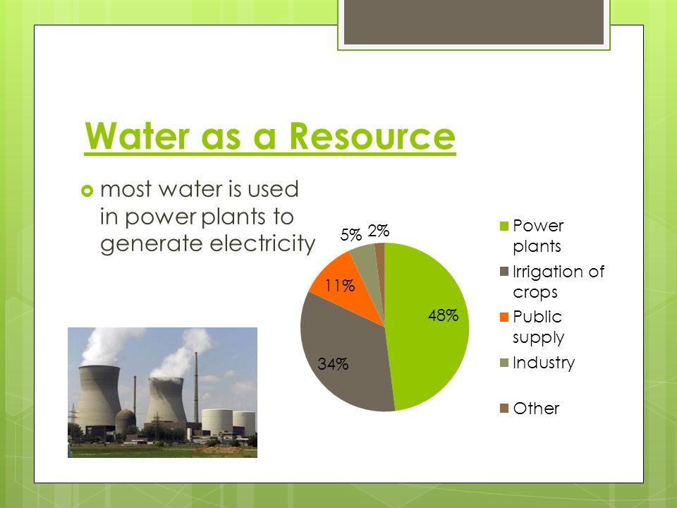 Water as a Resource most water is used in power plants to generate electricity
