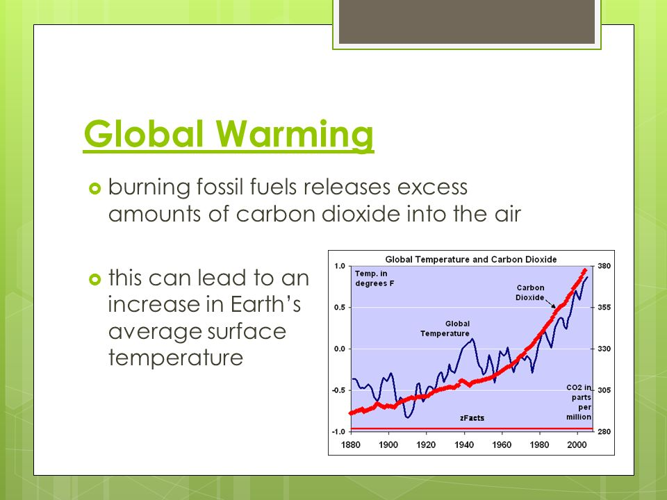 Global Warming burning fossil fuels releases excess amounts of carbon dioxide into the air.