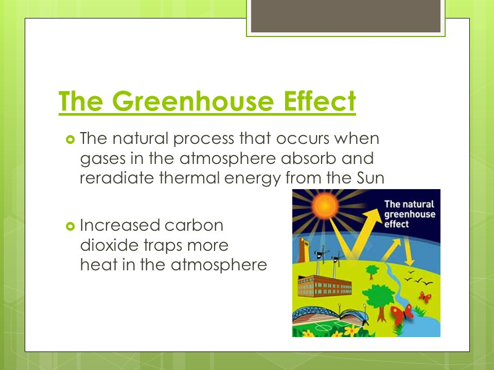 The Greenhouse Effect The natural process that occurs when gases in the atmosphere absorb and reradiate thermal energy from the Sun.