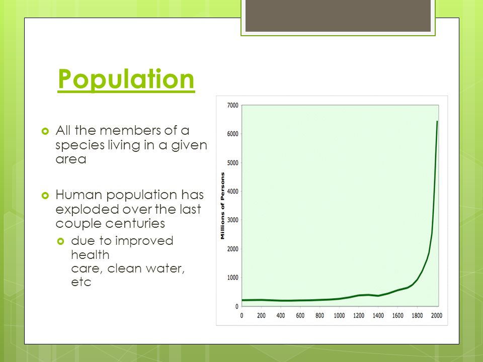 Population All the members of a species living in a given area