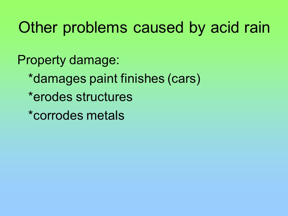 Other problems caused by acid rain