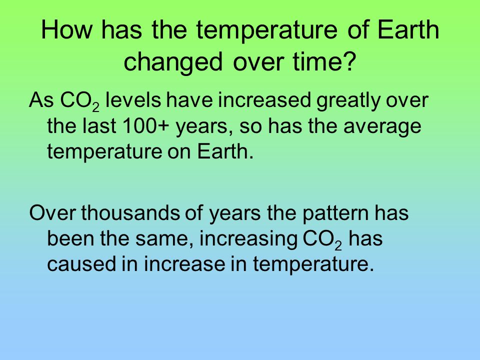 How has the temperature of Earth changed over time