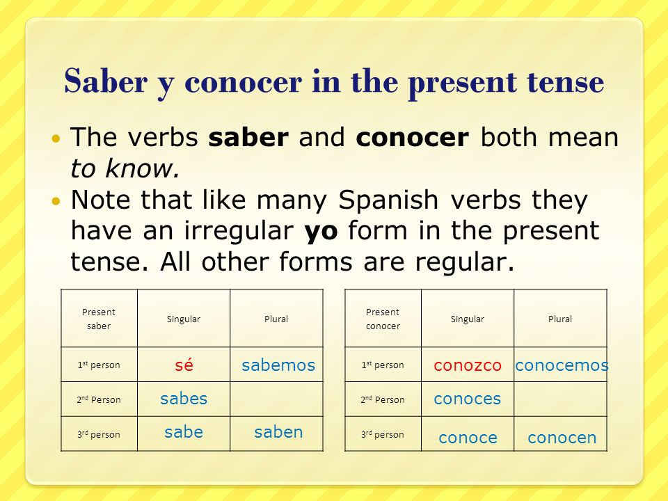 Saber y conocer in the present tense