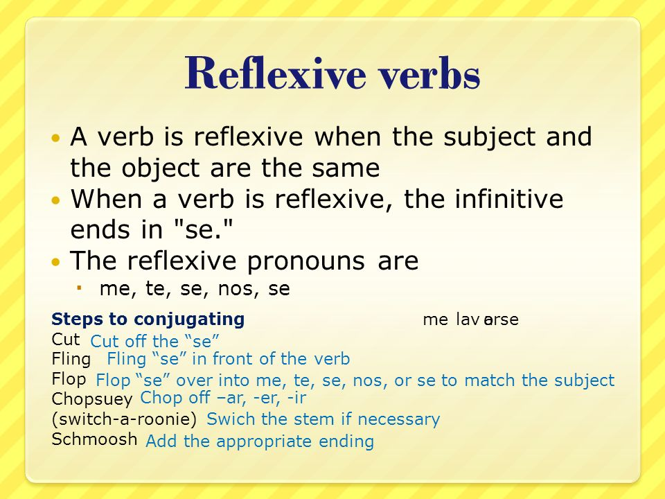 Reflexive verbs A verb is reflexive when the subject and the object are the same. When a verb is reflexive, the infinitive ends in se.