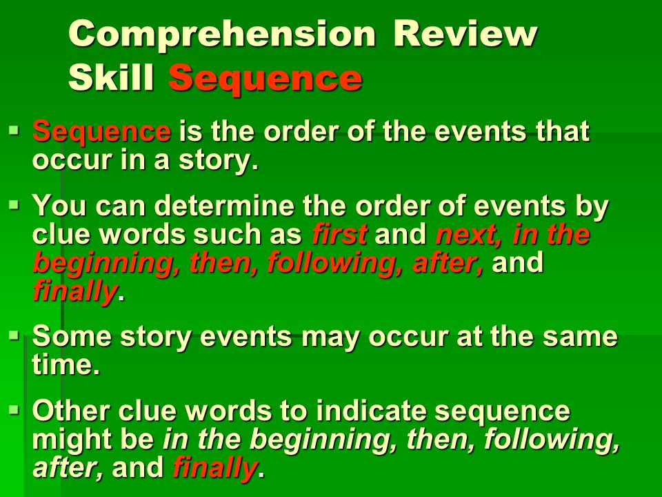 Comprehension Review Skill Sequence