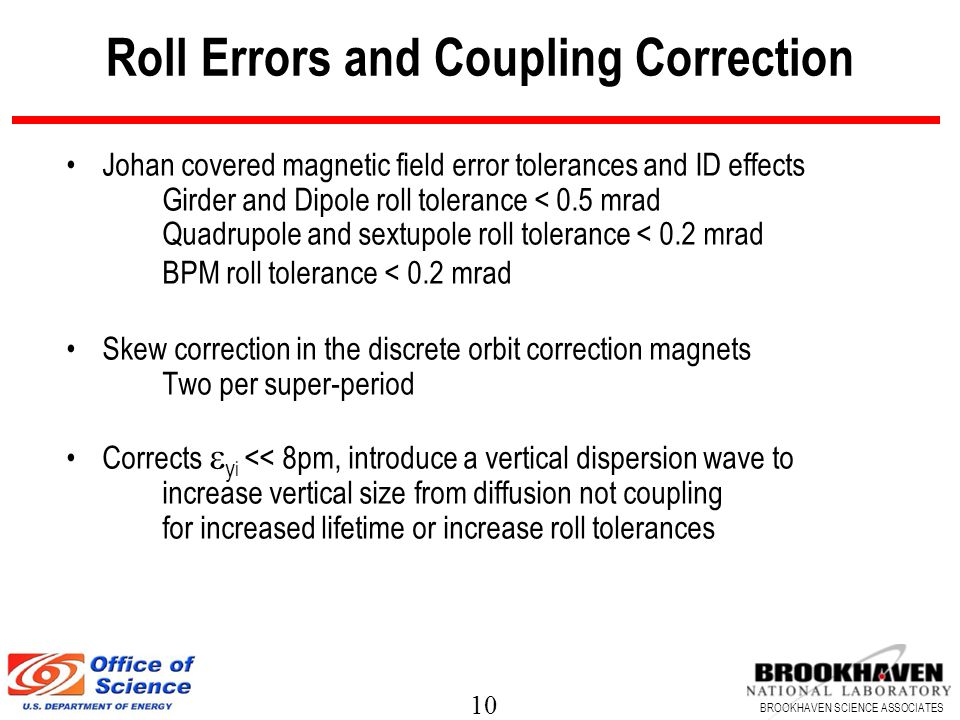 Roll Errors and Coupling Correction