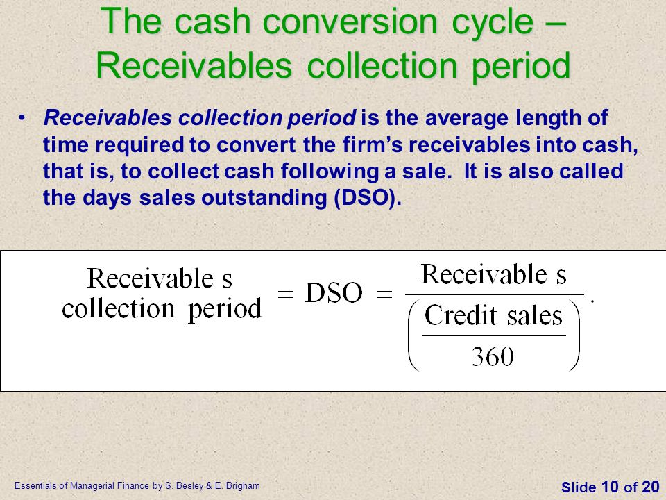 The cash conversion cycle – Receivables collection period