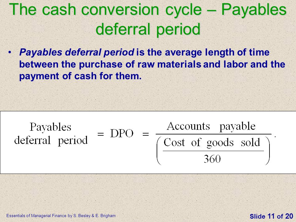 The cash conversion cycle – Payables deferral period
