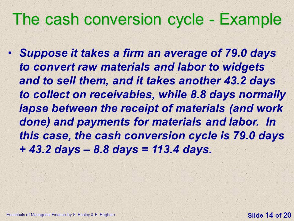 The cash conversion cycle - Example