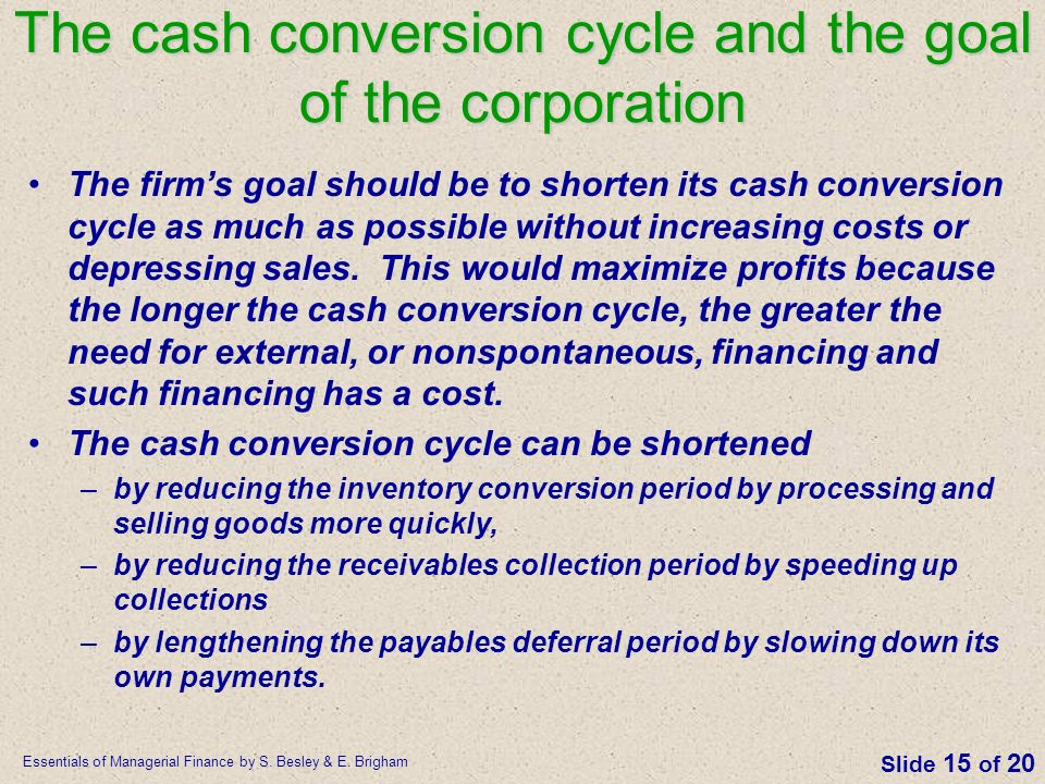 The cash conversion cycle and the goal of the corporation
