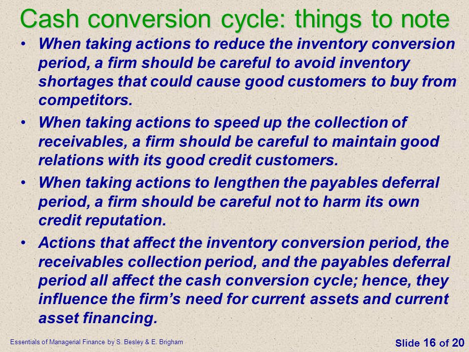 Cash conversion cycle: things to note