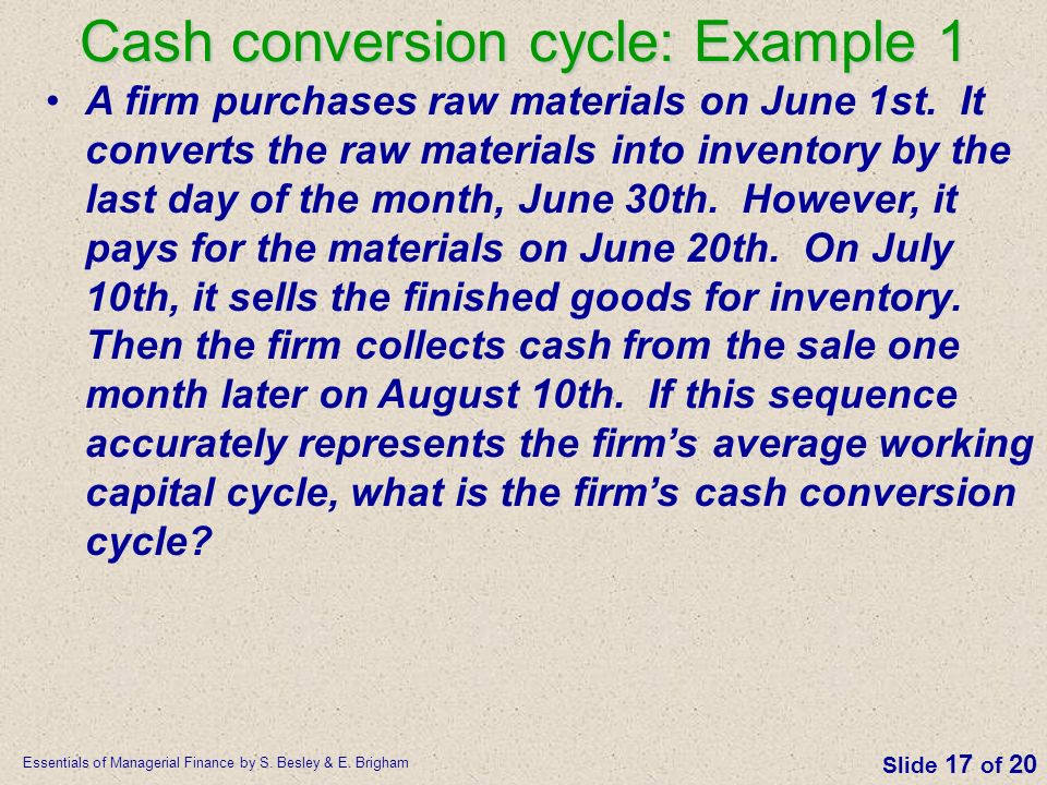Cash conversion cycle: Example 1