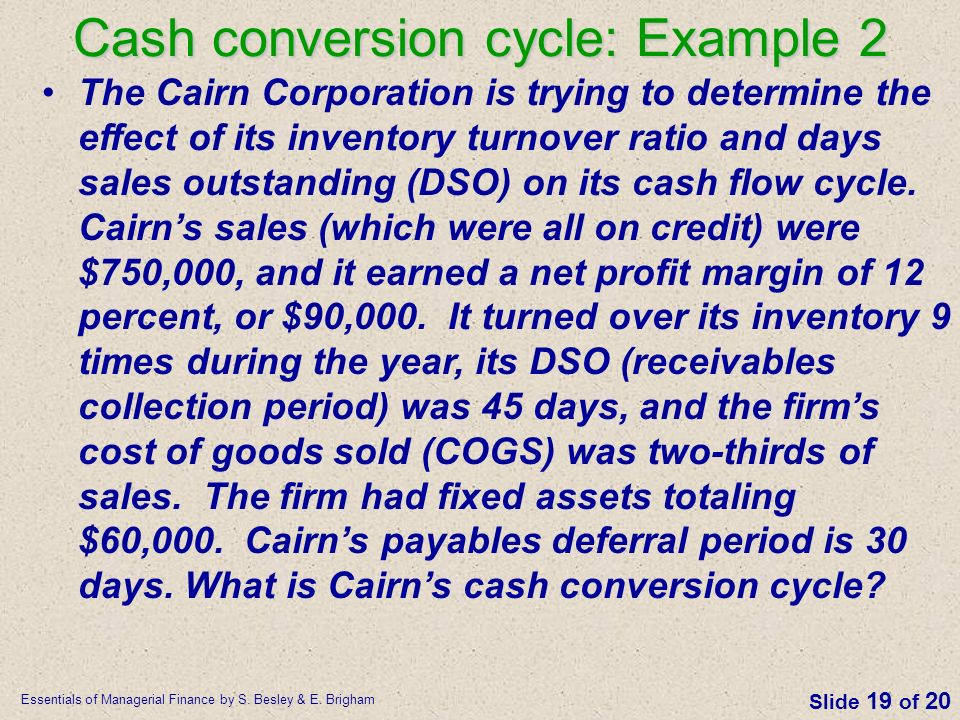 Cash conversion cycle: Example 2