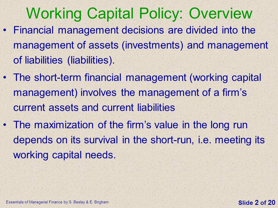 Working Capital Policy: Overview