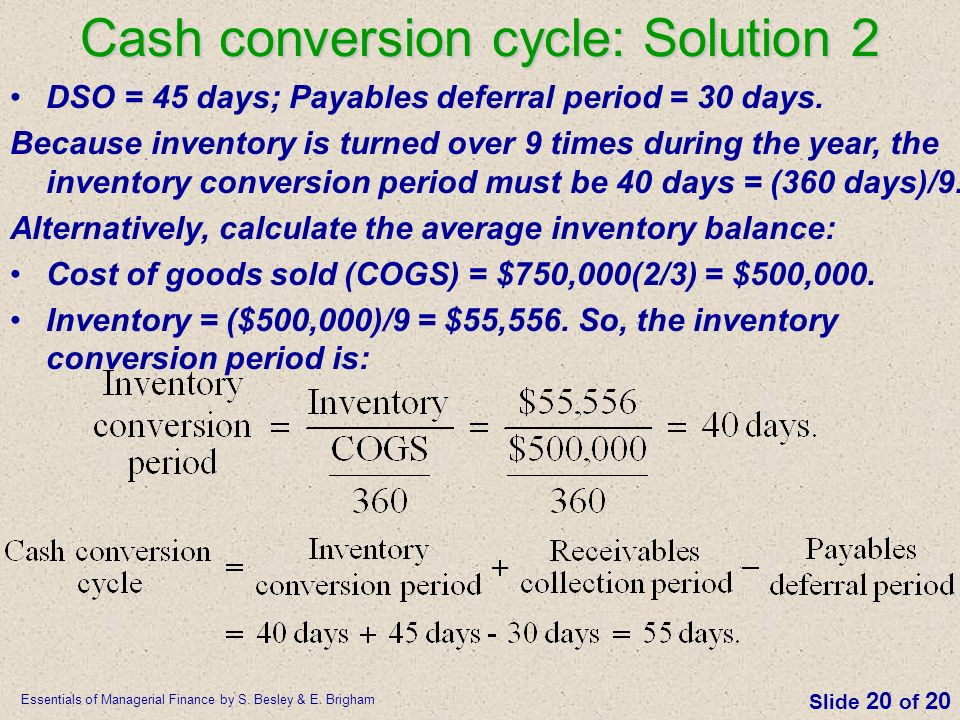 Cash conversion cycle: Solution 2