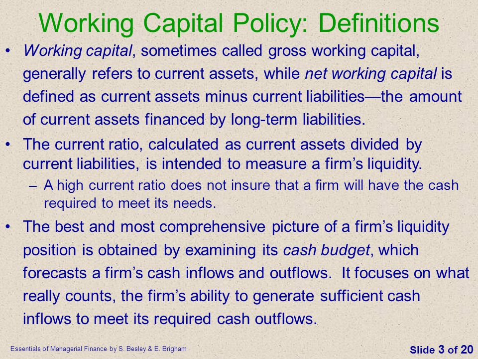 Working Capital Policy: Definitions