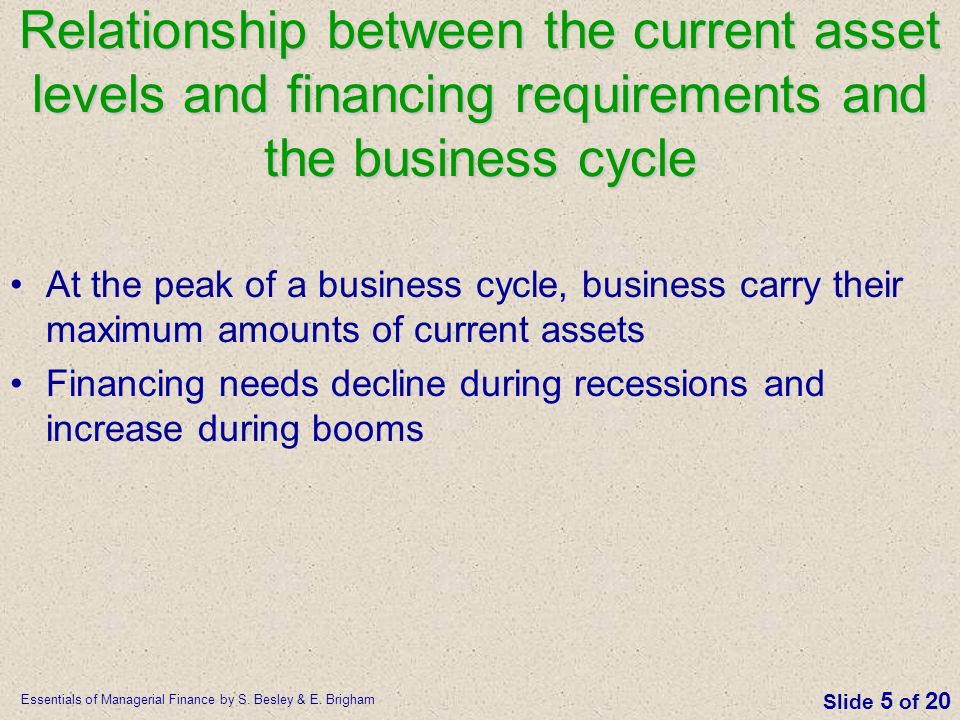 Relationship between the current asset levels and financing requirements and the business cycle