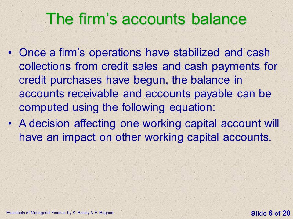 The firm's accounts balance