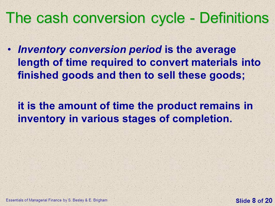 The cash conversion cycle - Definitions