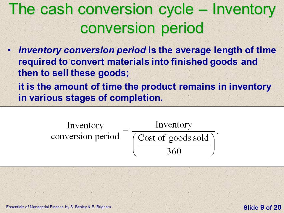 The cash conversion cycle – Inventory conversion period