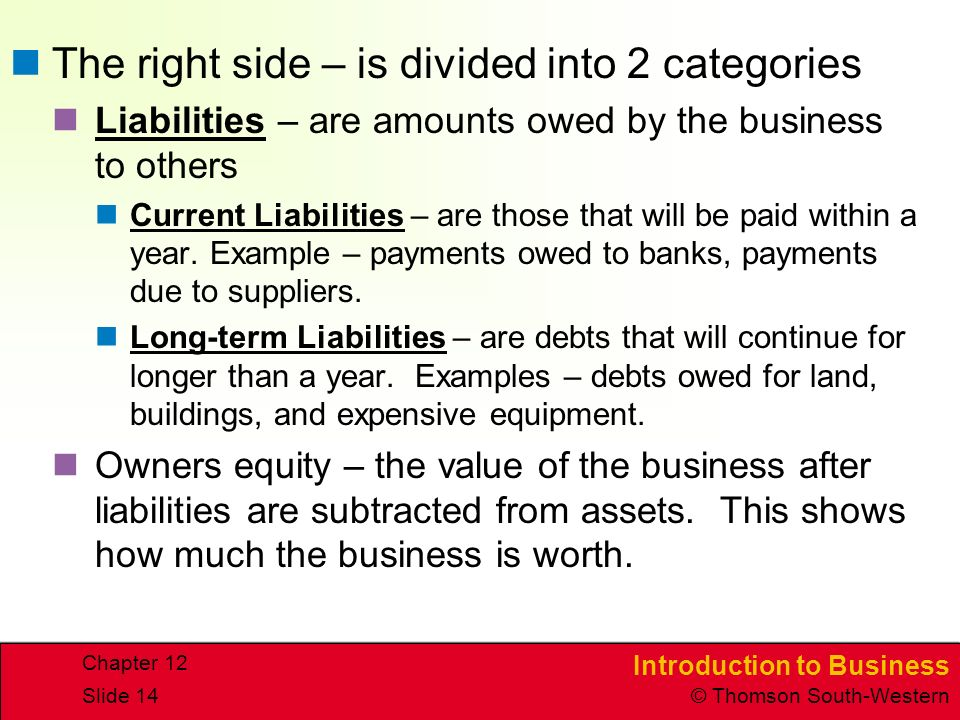 The right side – is divided into 2 categories